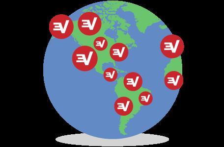Globo mostrando os servidores da ExpressVPN: Escolha entre localizações em todo o mundo.