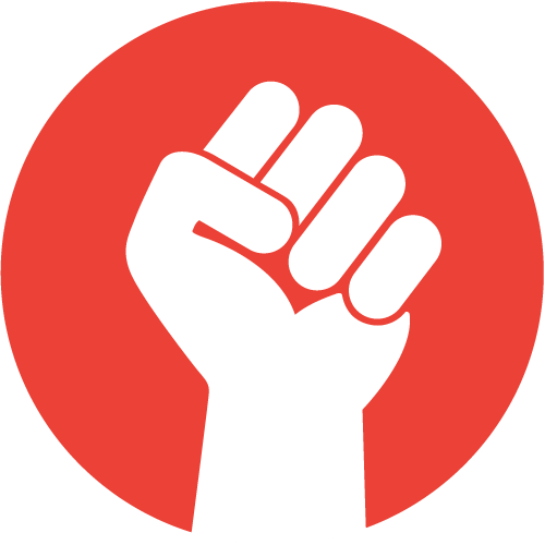 En näve framför en röd cirkel.