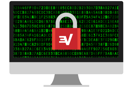 ExpressVPN南京錠付きのコンピュータスクリーン:クラス最高の暗号化で保護。