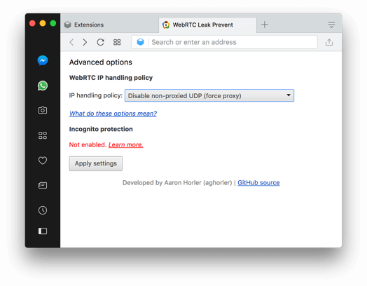 How to disable WebRTC in Opera on desktop