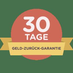 30 Tage Geld-zurück-Garantie auf einem roten Abzeichen mit gelbem Band.