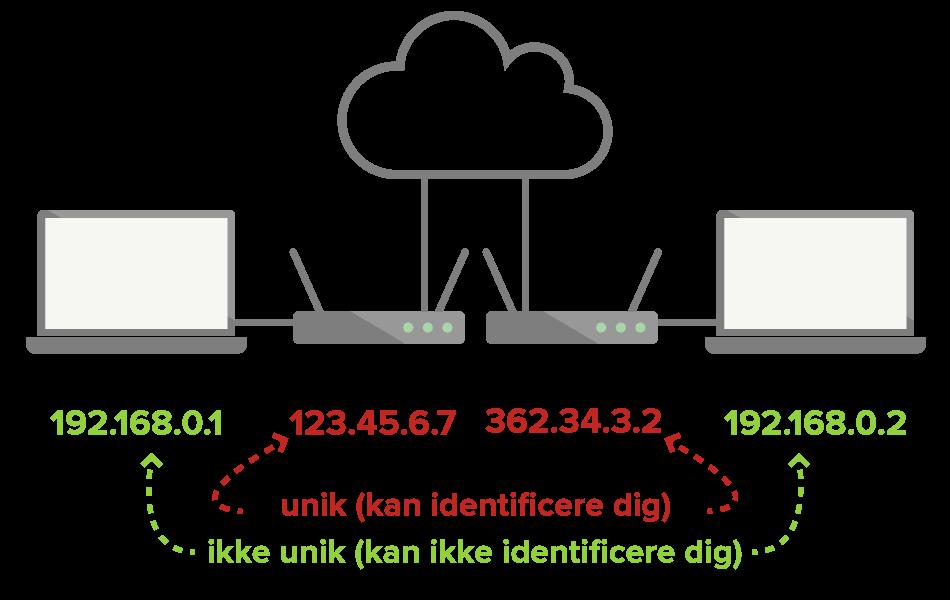 Lokale IP'er er ikke unikke og kan ikke bruges til at identificere dig, men offentlige IP'er kan