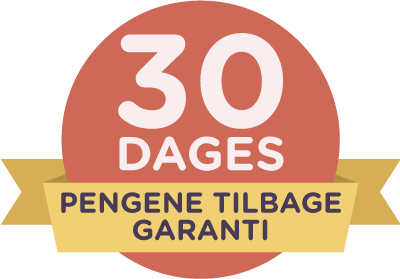 30-dages pengene-tilbage-garanti på rødt emblem med gult bånd.