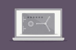 금고가 표시된 노트북