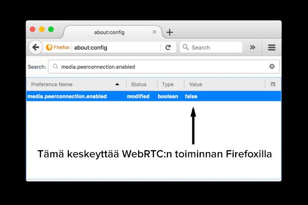 Kuinka estää WebRTC Firefoxilla tietokoneella