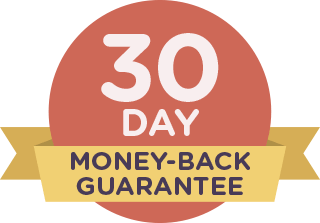 30-day money-back guarantee on red badge with yellow ribbon.