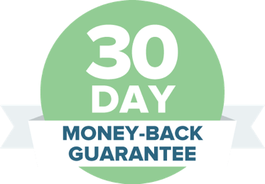 30-day money-back guarantee on a green badge and white ribbon.