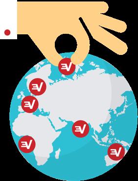 ExpressVPN 서버 위치가 표시된 세계 지도.