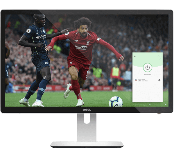 Monitor de desktop com streaming de futebol no beIN Sports e o aplicativo de VPN.