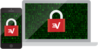 Encrypt your traffic: ExpressVPN padlocks on laptop and mobile phone.