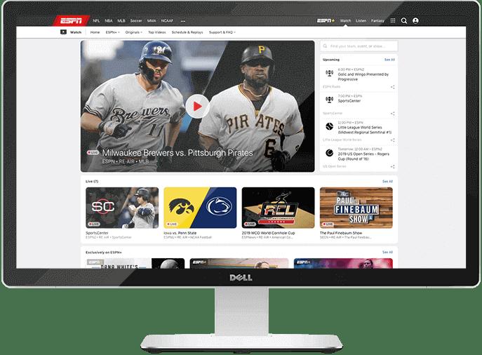 Página inicial da ESPN numa tela de desktop