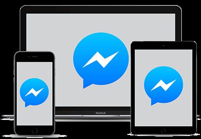 다양한 장치에 붙은 Facebook Messenger 로고.