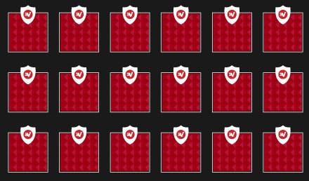 Et gitter af identiske blokke, der viser hvordan TrustedServer sikrer at software og konfigurationer er regelmæssige på alle ExpressVPN servere.
