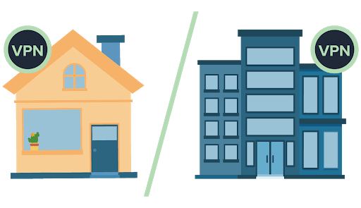 VPNアイコンの付いた自宅、VPNアイコンの付いたオフィスビルの比較