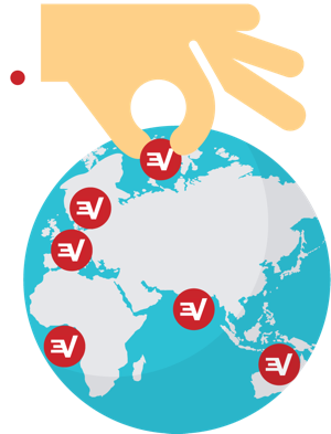 Hand selecting secure VPN server locations.