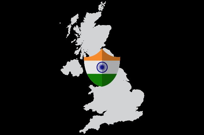 Ison-Britannian kartta, jossa Intian VPN-merkki osoittaa VPN-palvelimen sijainnin.