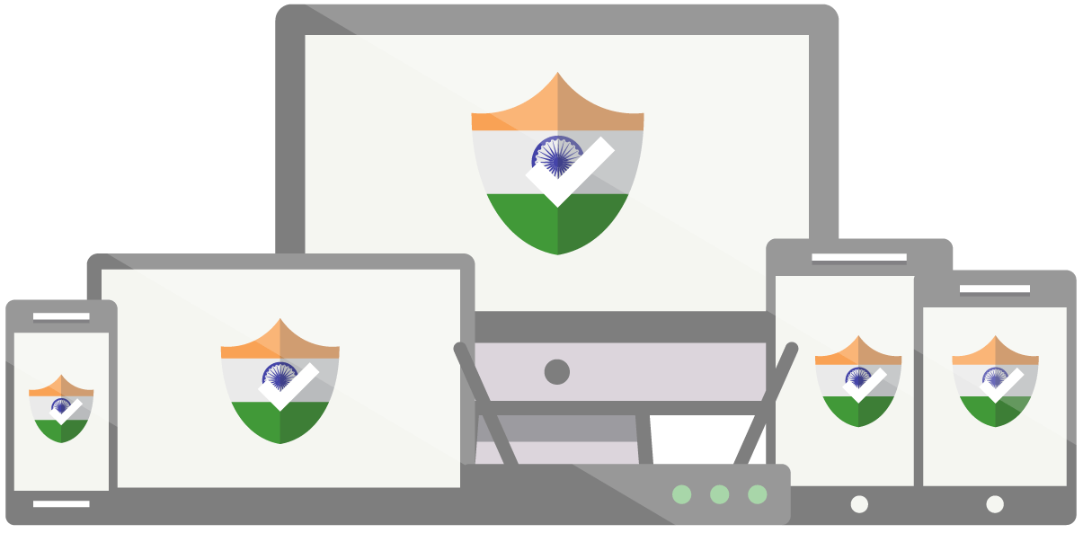 Intian VPN: Joukko laitteita, joissa on Intian lippu merkkinä.