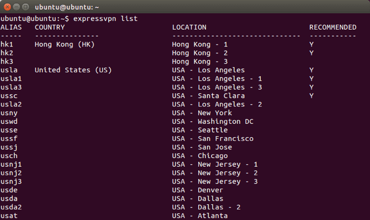 ExpressVPN for Linux in an Ubuntu terminal showing a list of VPN server locations