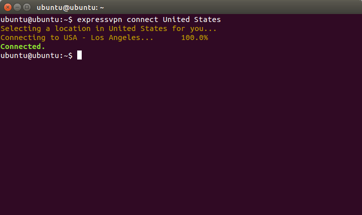ExpressVPN for Linux in an Ubuntu terminal showing connection to a US VPN server