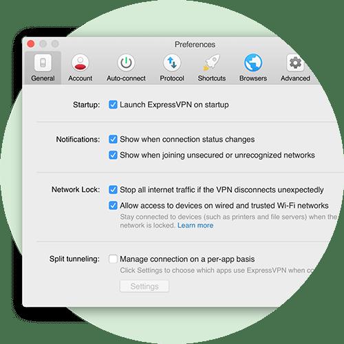Menu Preferenze che mostra le impostazioni di Network Lock per Mac.
