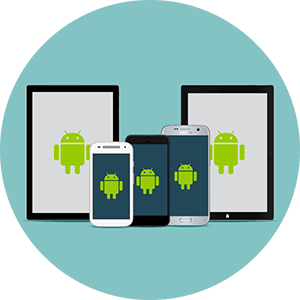 A group of Android smartphones and tablets.