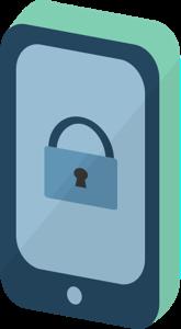 Sicurezza del telefono: un telefono cellulare con l'icona di un lucchetto.