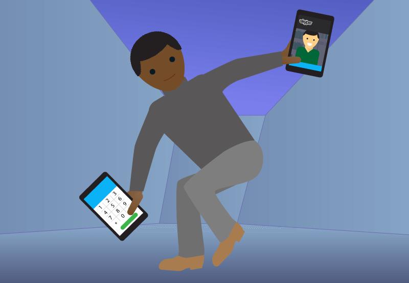 Skype-användare dansar. ExpressVPN avblockerar Skype och ger dig en skarp bild var du än är.
