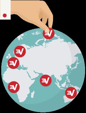 Logotipos de ExpressVPN en un globo terráqueo indicando las ubicaciones de servidores VPN.