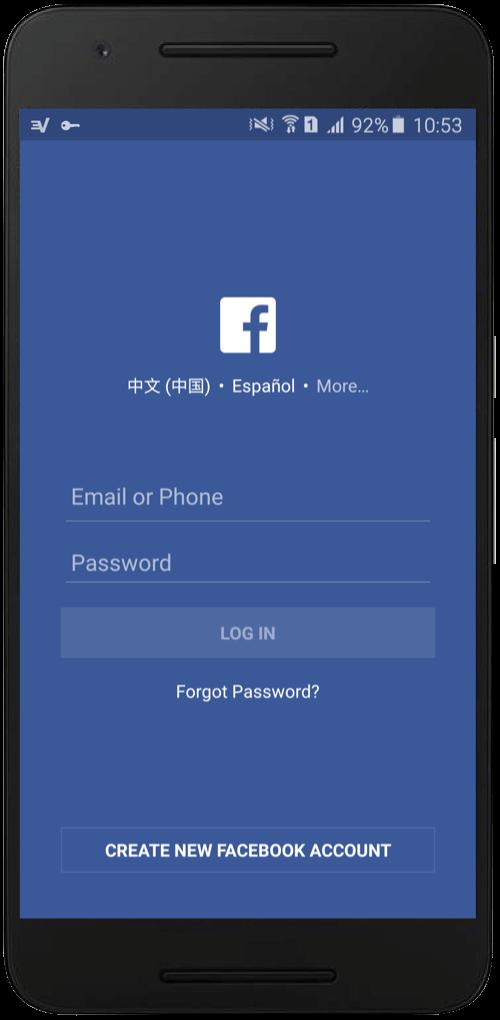 Фейсбук на смартфоне на нескольких языках. ExpressVPN позволяет использовать Facebook в любой точке мира!