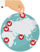 Hand selecting a secure ExpressVPN server location on a globe.