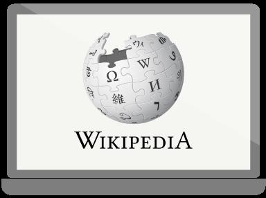 Wikipedia-Homepage auf einem Computerbildschirm.