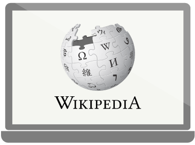Wikipedia startside på en computerskærm