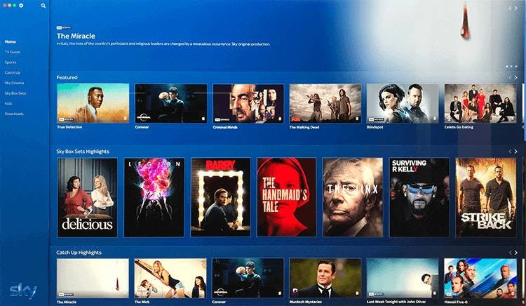 Sky Go desktop app home-scherm.