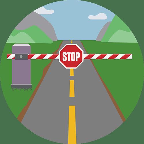 Sjekkpunkt med stoppskilt. Network Lock pauser all internettrafikk når VPN-tilkoblingen din faller ut.