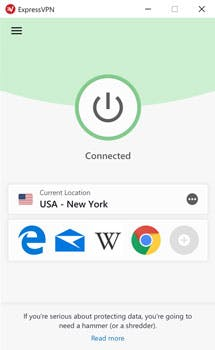 Interfaccia dell'app ExpressVPN (PC): schermo con VPN connessa.