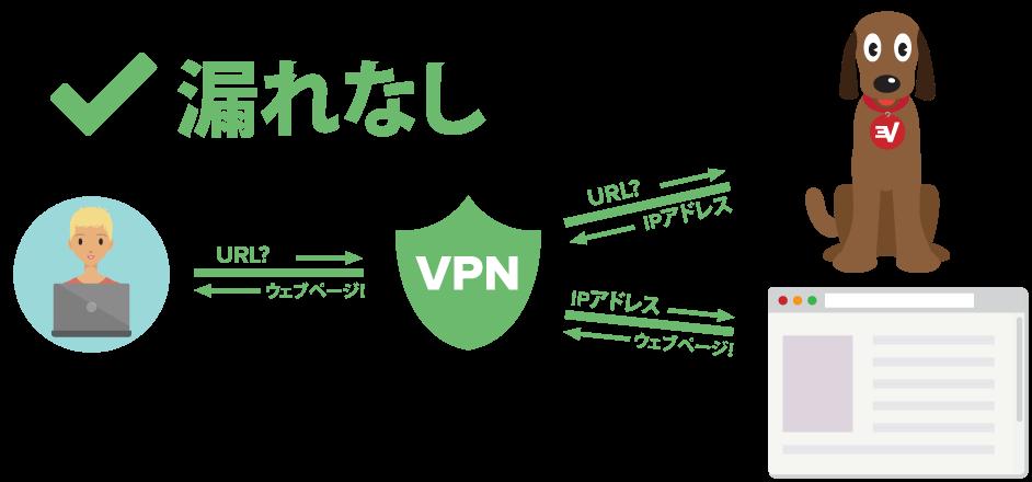 DNS漏れから保護されたVPNユーザーを表す図表