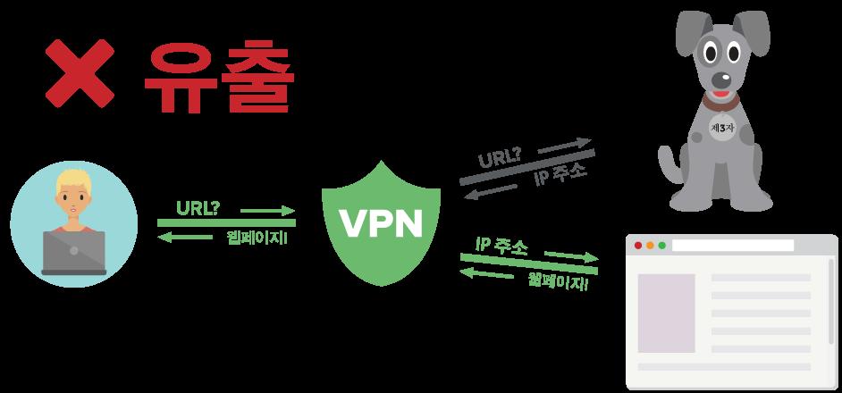 암호화된 터널을 통해 제3자 서버로 DNS 쿼리를 전송하는 VPN 사용자를 보여주는 도표