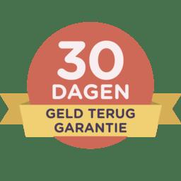 30-dagen geld-terug garantie op een rode badge met geel lint.