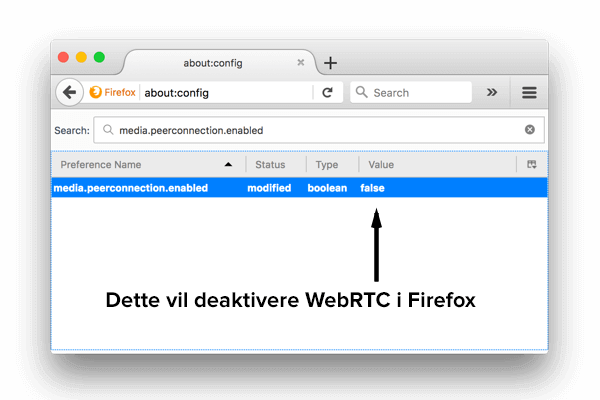 Hvordan deaktivere WebRTC i Firefox på stasjonær datamaskin.