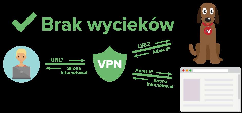 Diagram przedstawiający użytkownika VPN chronionego przed wyciekami DNS