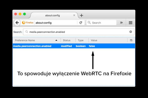 Jak wyłączyć WebRTC w Firefoxie na komputerze