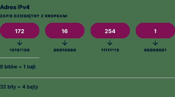 Przykład adresu IPv4 w notacji dziesiętnej kropkowanej.