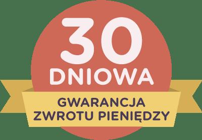 30-Dniowa Gwarancja Zwrotu Pieniędzy na czerwonej odznace z żółtą wstążką.