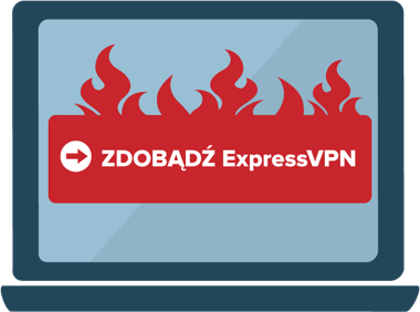Get ExpressVPN button in flames on a computer screen.
