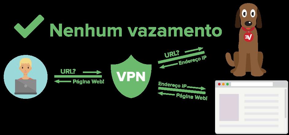 Diagrama mostrando um usuário de VPN protegido contra vazamentos de DNS