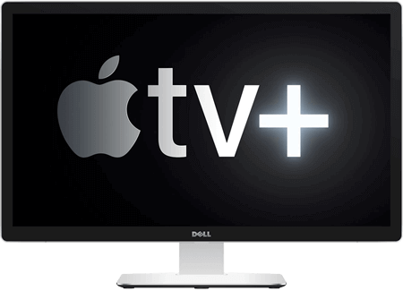 Логотип Apple TV+ на мониторе компьютера.
