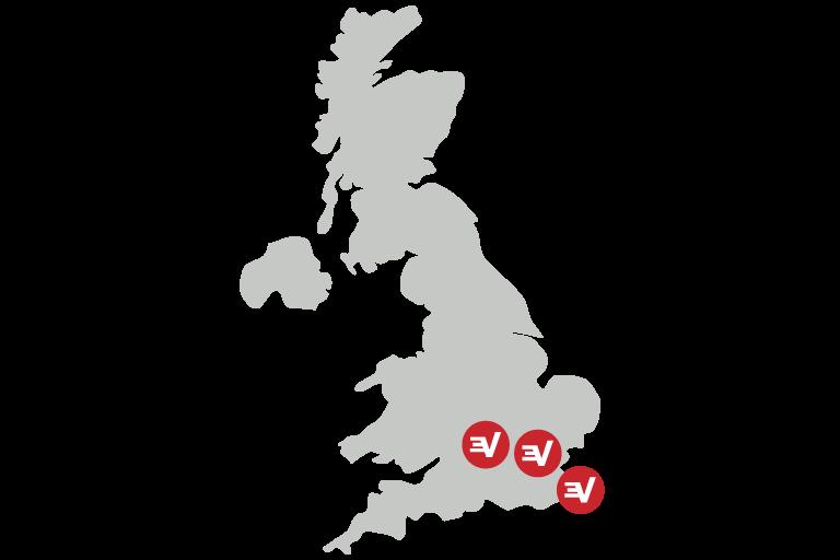 Carte du Royaume-Uni affichant les localisations VPN sécurisées.