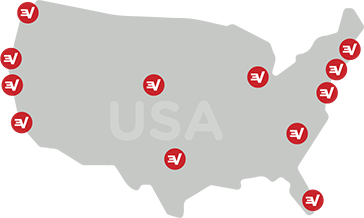 Map of the U.S. marked with ExpressVPN server locations.