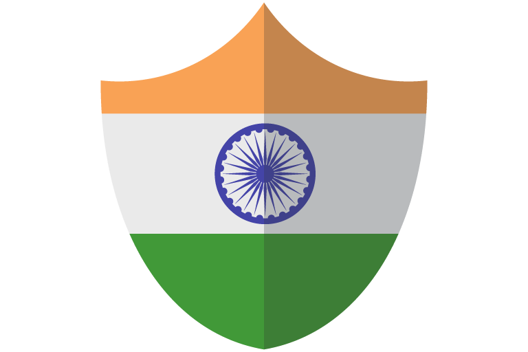 The Indian flag on a shield.