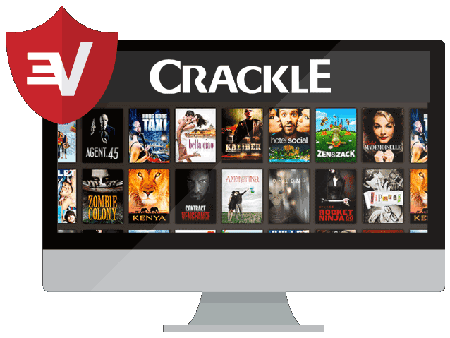 Crackle on a desktop with the ExpressVPN badge.